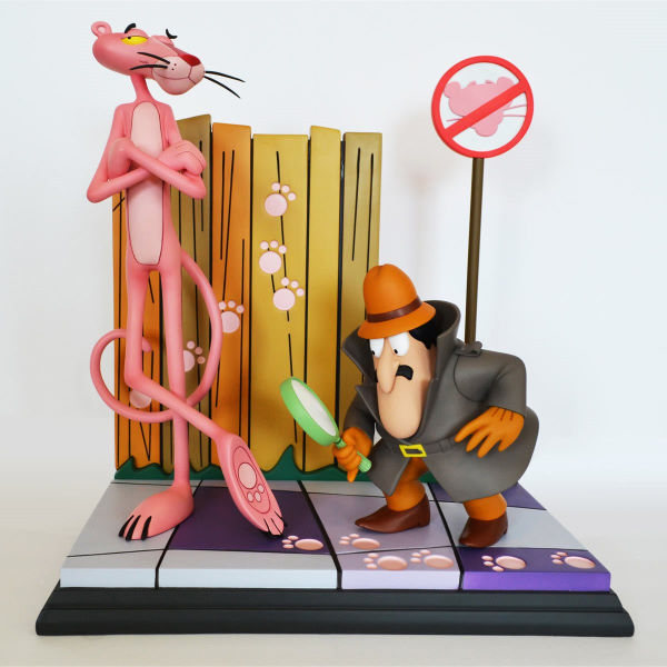Retro Pink Panther & Inspector Clouseau Statue